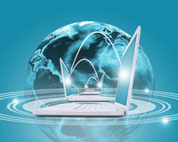 Laptops mit Erde und Weltkarte Stockbilder