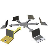 Laptops network. 3d rendering of  laptop network on white background Royalty Free Stock Image