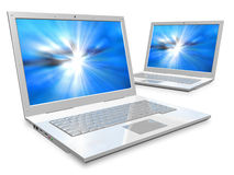 Laptops: networking and mobility concept. Networking and mobility concept: two white laptops isolated over white background vector illustration