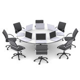 Laptops on the office round table and chairs Stock Photos
