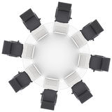 Laptops on the office round table and chairs Royalty Free Stock Images
