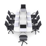 Laptops on the office round table and chairs Royalty Free Stock Photo