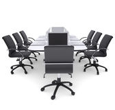 Laptops on the office round table and chairs Royalty Free Stock Photos