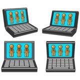 Laptops with orange men Royalty Free Stock Photos