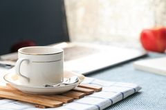 There are all kinds of office and daily necessities on the desk Stock Image