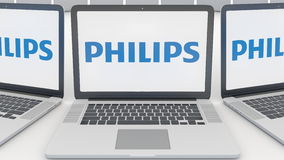 Laptops with Philips logo on the screen. Computer technology conceptual editorial 3D rendering Stock Photo