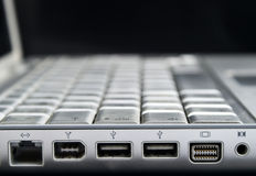 Laptops ports. A detail of laptops ports Royalty Free Stock Image