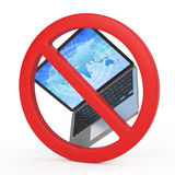 With laptops is prohibited, forbidden sign concept Stock Image