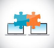 Laptops puzzle pieces illustration design Royalty Free Stock Image