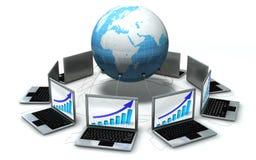 Laptops rond de geïsoleerden wereld Royalty-vrije Stock Afbeeldingen
