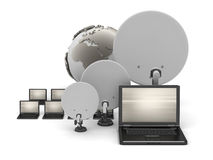 Laptops, satellite antenna and earth globe Royalty Free Stock Photography