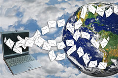 Laptops send mail with background. Royalty Free Stock Photography