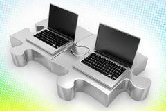 Laptops and Silver Puzzles In Halftone Background Stock Photo