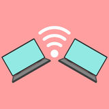 Laptops with wi-fi icon. Vector illustration Royalty Free Stock Photos
