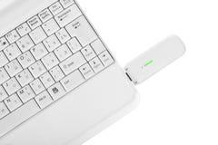 Laptops with wi-fi modem Royalty Free Stock Photo
