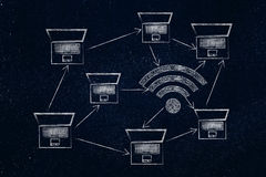 Laptops and wi-fi symbol made of microchip circuits in a network Stock Image