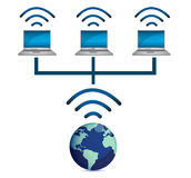 laptops wireless connected and earth globe Stock Image