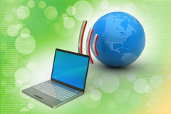Laptops wireless connection with   earth Royalty Free Stock Image