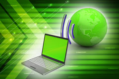 Laptops wireless connection with   earth Royalty Free Stock Photography