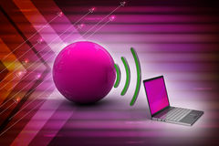 Laptops wireless connection with   earth Royalty Free Stock Images