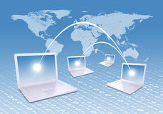 Laptops and world map Royalty Free Stock Images