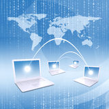 Laptops with world map Royalty Free Stock Photo