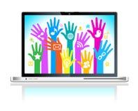 Laptopsozialmedianetz Stockbild