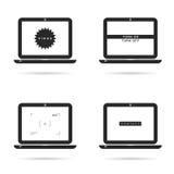 Laptoptechnologie stellte mit Ikonenillustration auf Weiß ein Stockfoto