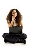 laptopu amerykański korporacyjny żeński obsiadanie obrazy stock