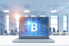 Laptopu bitcoin symbol i wykres, biuro ilustracji