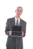laptopu biznesowy mężczyzna Obrazy Stock