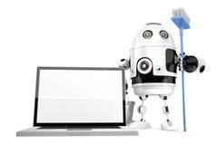 Laptopu cleaning pojęcie Robota cleaning laptop z kwaczem isola Zdjęcia Royalty Free