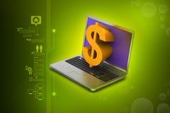 laptopu dolarowy znak ilustracja wektor
