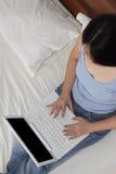 laptopu działanie Fotografia Stock