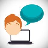 Laptopu faceta bąbla mowy rozmowa ilustracja wektor