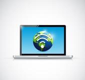Laptopu i kuli ziemskiej wifi sygnału ilustracyjny projekt Zdjęcia Stock