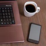 laptopu kawowy smartphone Zdjęcie Royalty Free