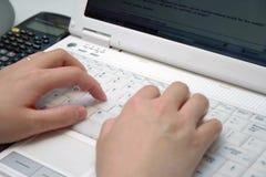 laptopu kobiety działanie Zdjęcia Royalty Free