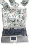laptopu komputerowy pieniądze Zdjęcie Royalty Free