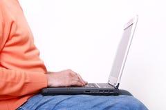 laptopu mężczyzna działanie Obraz Stock