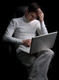 laptopu mężczyzna potomstwa Obraz Royalty Free