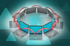 Laptopu networking okrąg Zdjęcia Royalty Free