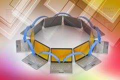 Laptopu networking okrąg Zdjęcia Stock