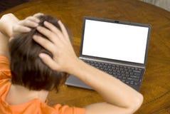 laptopu ochrony zdziwiona kobieta Obrazy Royalty Free
