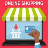 Laptopu Online zakupy Kredytowa karta ilustracja wektor