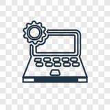 Laptopu pojęcia wektorowa liniowa ikona odizolowywająca na przejrzystym backgr ilustracji
