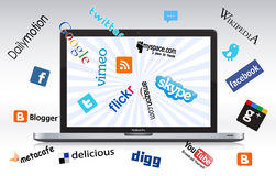 laptopu sieci socjalny royalty ilustracja
