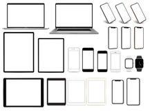 Laptopu smartphone pastylki pro smartwatch ustawiający przyrząda z pustego ekranu szablonem ilustracji