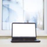 laptopu stół Zdjęcie Stock