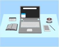 Laptopy i rysunkowy wyposażenie royalty ilustracja